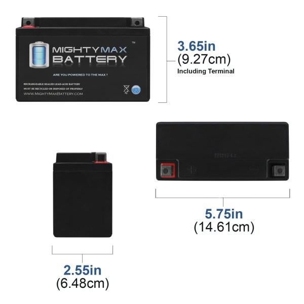 YT7B-BS 12V Battery Replaces HighPerformance Free Maintenance #913049