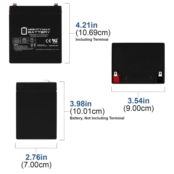 ML5-12 – 12V 5AH UPS Replacement Battery for Razor Pocket Bike X1 X2 49cc