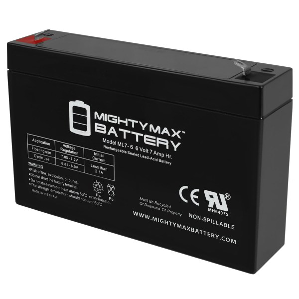 6 Volt 7 AmpH SLA Replacement Battery with F1 Terminal for ELB0607