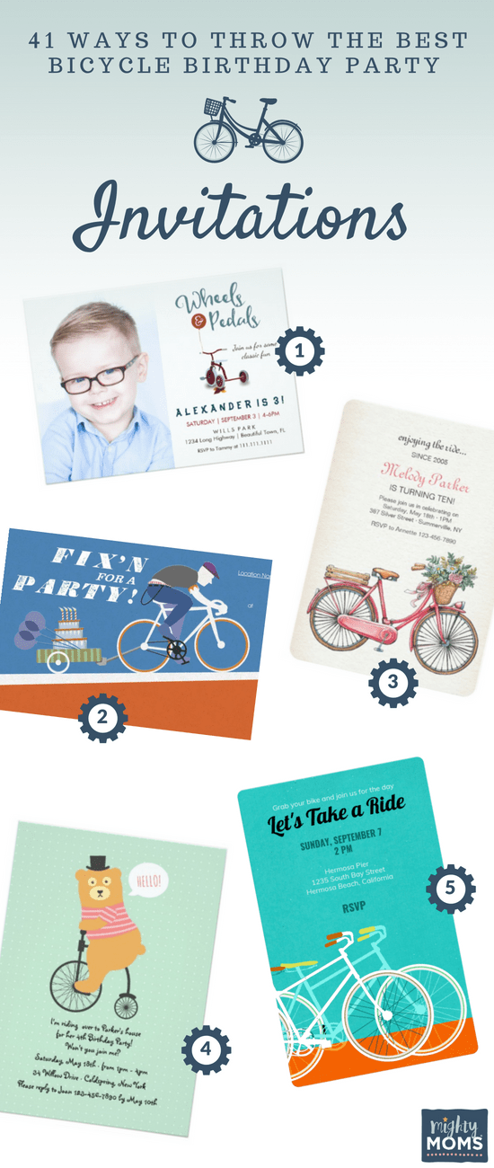 Bicycle Birthday Party Invitation Ideas - MightyMoms.club