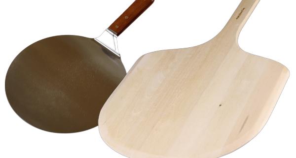 wood and metal pizza peel