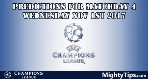 Champions League Wednesday Predictions MatchDay 4