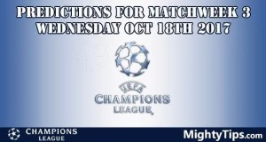 Champions League Wednesday Predictions Matchday 3