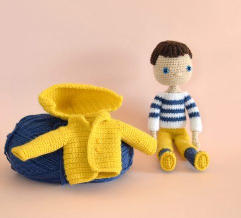 Pêcheur Breton Français marinière - Jolie poupée au crochet - Poupée garçon décorative collection - Designer MignonCrochet 7