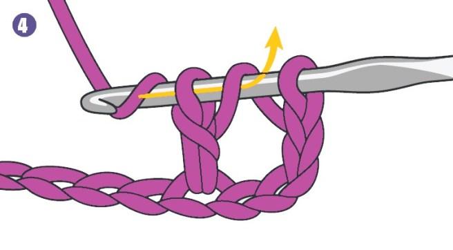 Faire un jeté et tirer le fil à travers les 2 boucles suivantes sur le crochet. Il nous reste 2 boucles.