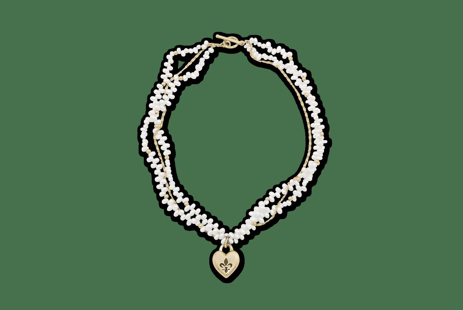 Fleur De Lis Intaglio Heart Pearl Necklace Mignon Faget
