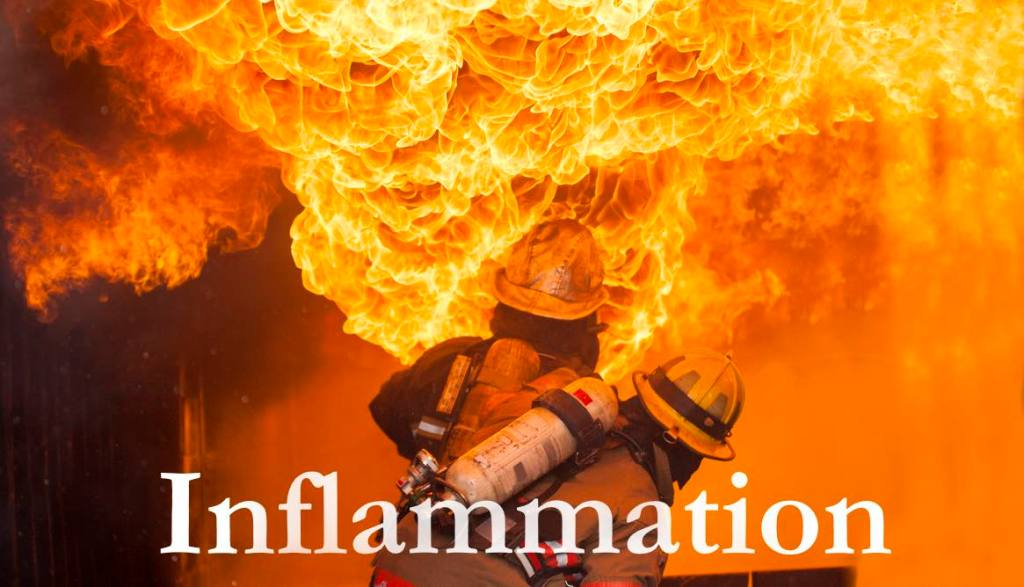 Firefighters fighting fire during training. Inflammation. Migraine triggers.