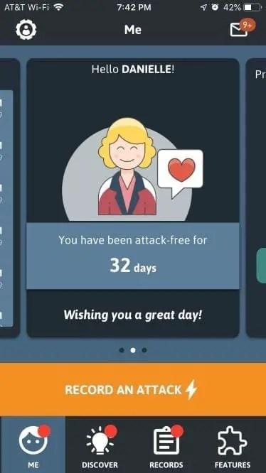 A screenshot of migraine buddy app