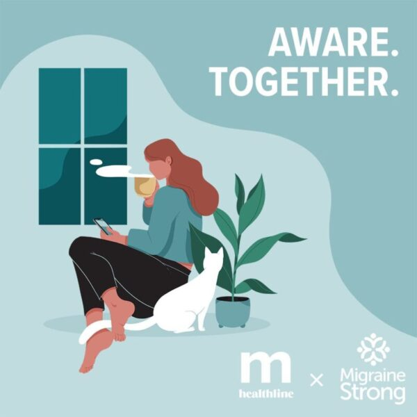 migraine healthline logo with aware together on it