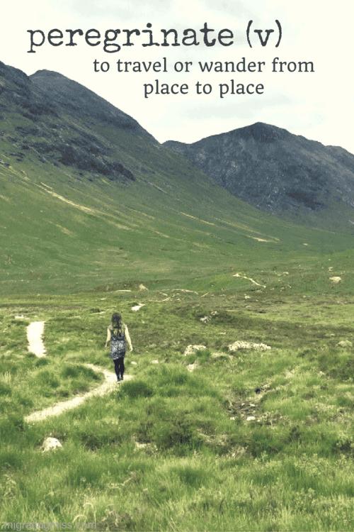 unusual travel words - peregrinate