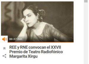 Resultado de imagen para Premio de Teatro Margarita Xirgu