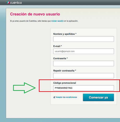 codigo promocional cuentica.es