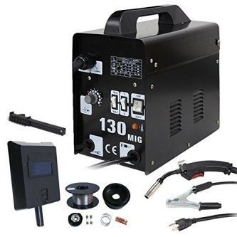 ZENY MIG-130 Gas-Less Flux Core Wire Welder Welding Machine AC Current MIG 130 60 AMP Automatic Feed Unit DIY, Black