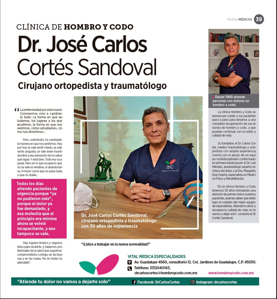 CLÍNICA DE HOMBRO Y CODO, Dr. José Carlos Cortés Sandoval / Entrevista en la revista Perfiles Médicos
