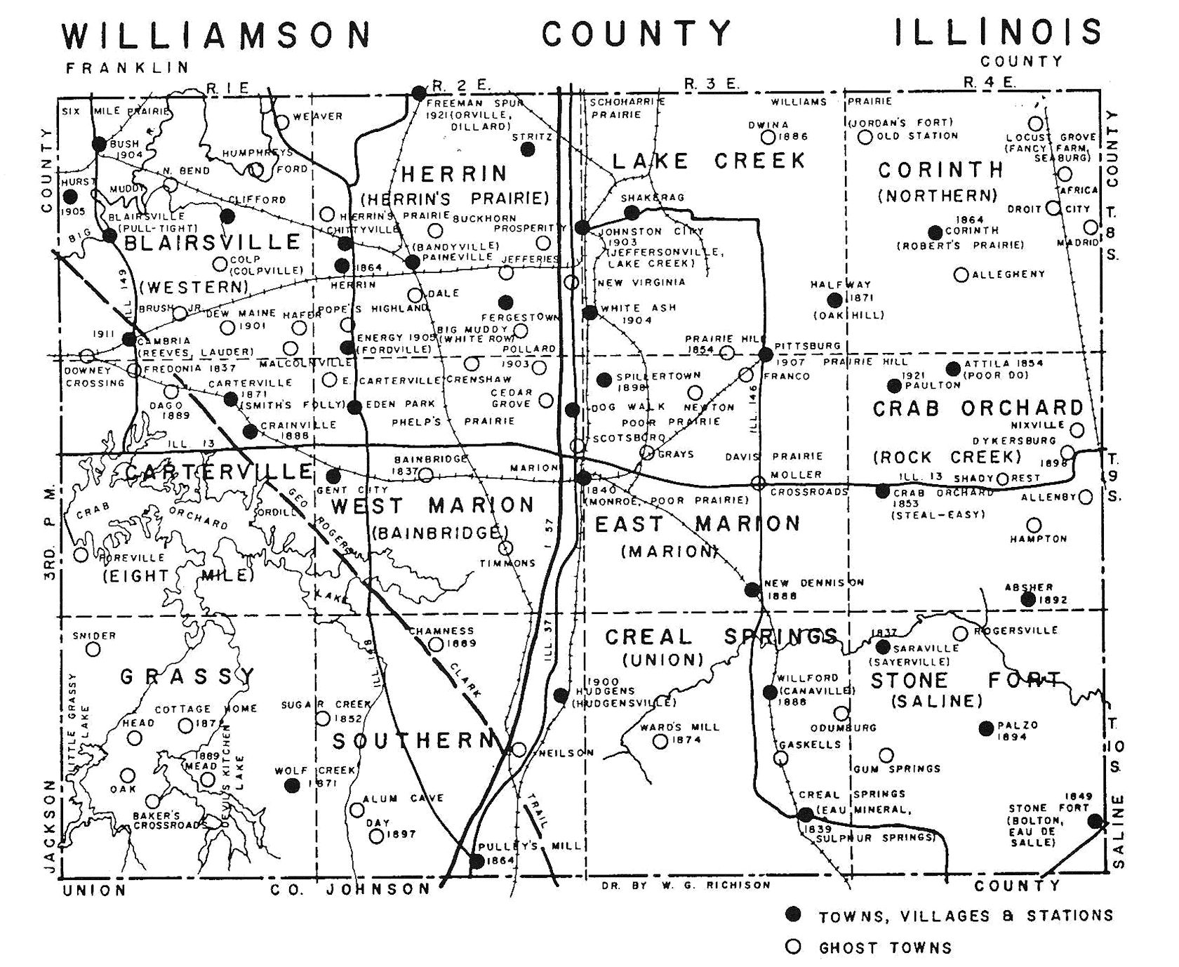 Ghost Town Map Of Williamson County Small