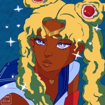 Digital illustration of Black Sailor Moon