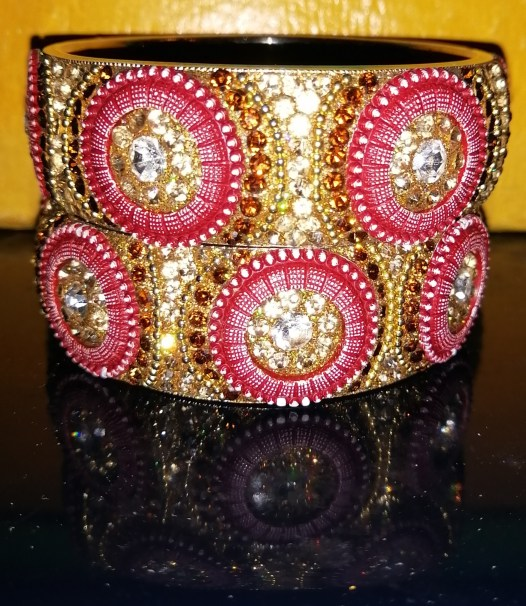 Burgundy Button Pattern Crystal Bangle Set Burgundy buttons with Champagne and Clear crystals. 8 inches Bangles = 3.78 dia. Handcrafted Plus Size Statement Bangles SOLD AS A SET