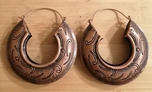 Medium Size Wave Print Earrings - Rust