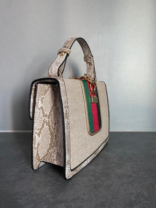 nude and multi colour bag