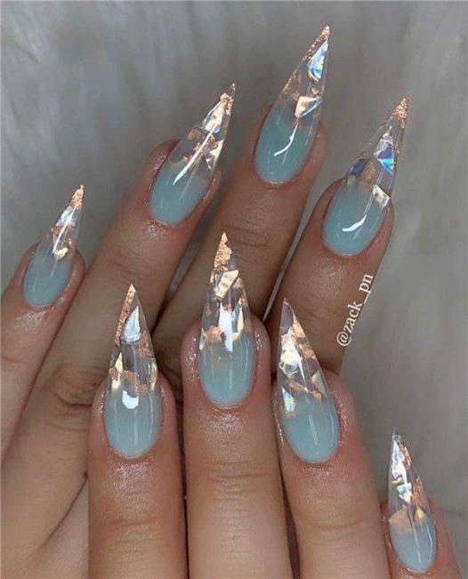 Ombre Glow Stiletto - Pin Inspired - Pretty and Pressed Nails