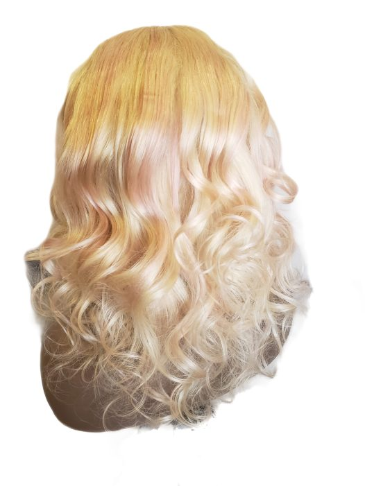 Blonde and pink lace closure wig.