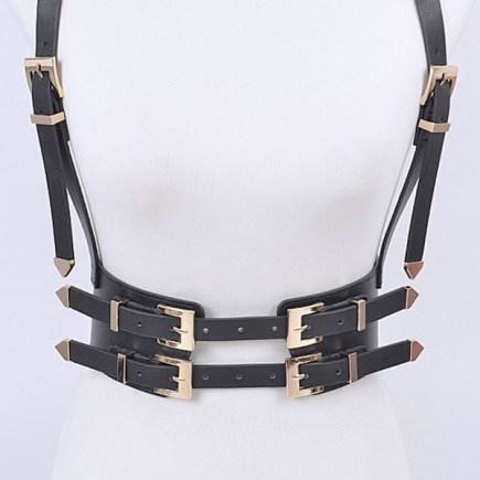 Black and Gold Buckle Suspender Corset Belt