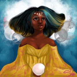Black woman holding crystal ball