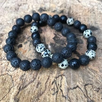 Lava stone bracelet and Dalmatian Jasper bracelet with onyx and lava stone beads
