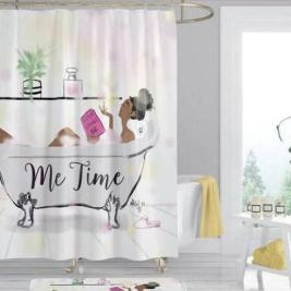"""""""Me Time"""" African American Shower Curtain"""