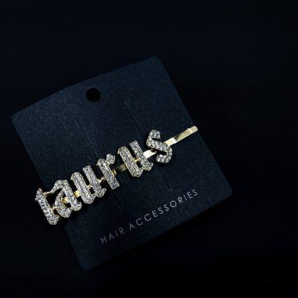 Gold Taurus Hair Clip with Diamonds