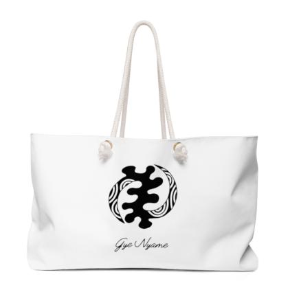 Gye Nyame Adinkra Symbol White Weekender bag