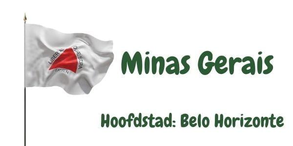 Vlag van de Braziliaanse deelstaat Minas Gerais met als hoofdstad Belo Horizonte