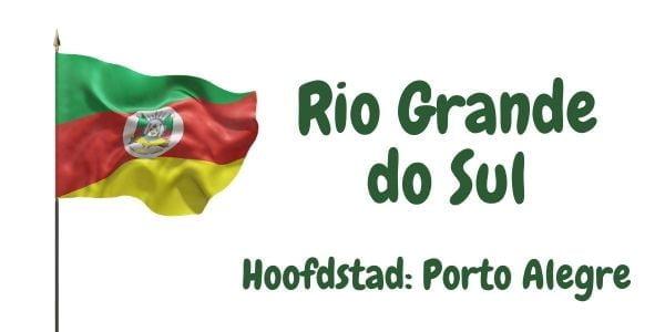 Vlag van de Braziliaanse deelstaat Rio Grande do Sul met als hoofdstad Porto Alegre