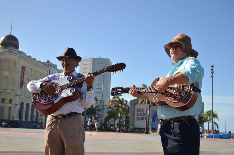 Praça do Marco Zero-Muzikanten op het plein van Marco Zero Recife