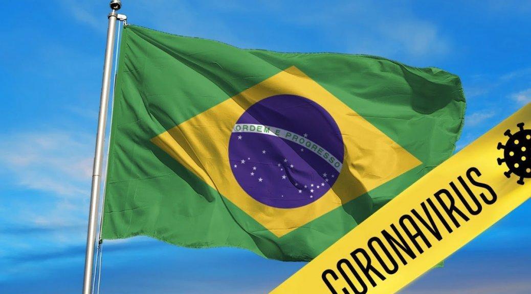 Mijnbrazilie-Brazilië-Coronavirus in Brazilië-Braziliaanse vlag met Coronavirus waarschuwing