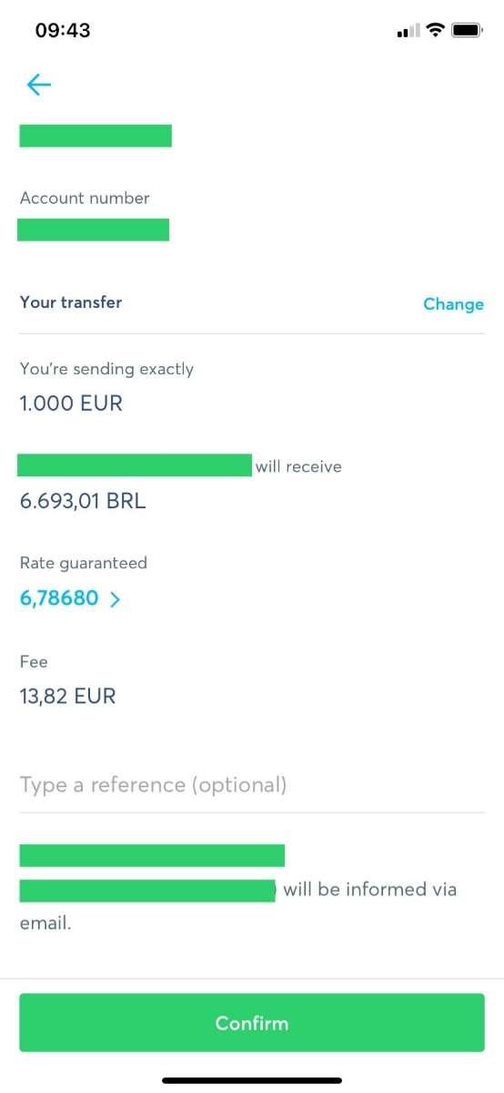 Schermafbeelding tijdens geld overmaken via de App van Wise