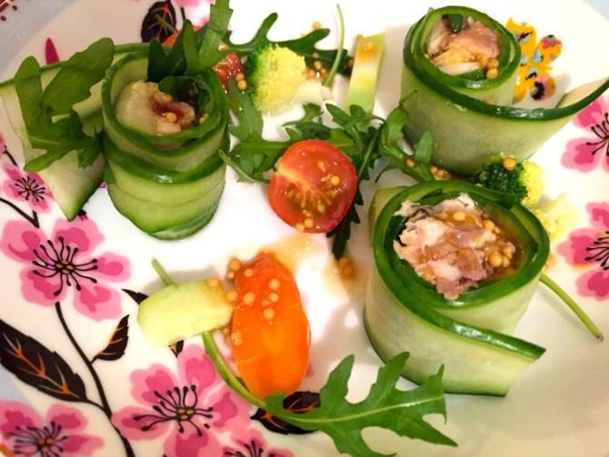 groenterolletjes met makreel