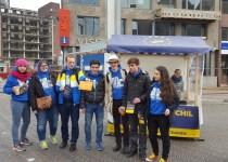 Campagne Oekraïne referendum stationplein Leiden Oekraïnse studenten