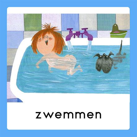 Floddertje zwemt