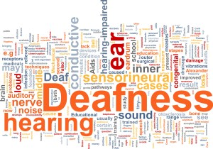 Word cloud concept illustration of hearing deafness