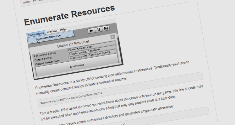 Unity Helper – Enumerate Resources