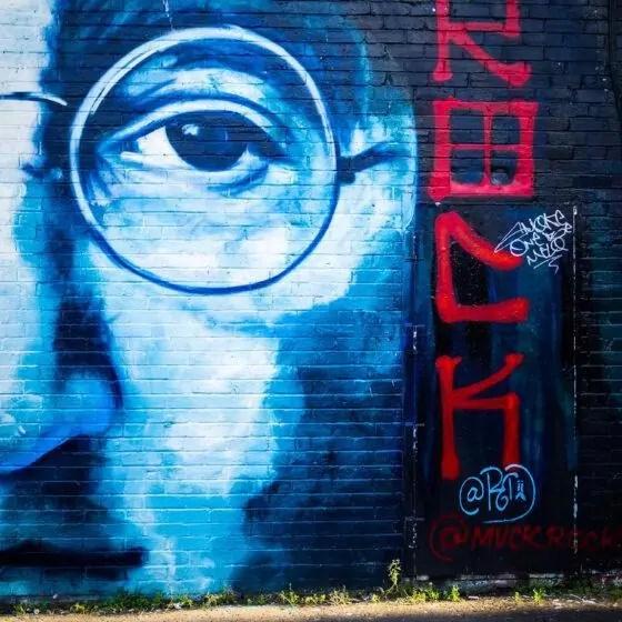 A graffiti image of John Lennon in Liverpool