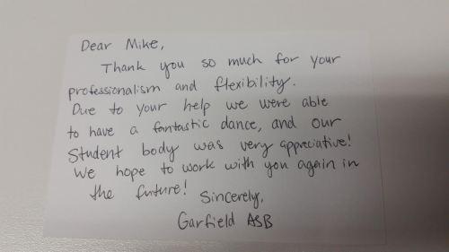 Garfield High School Thank You