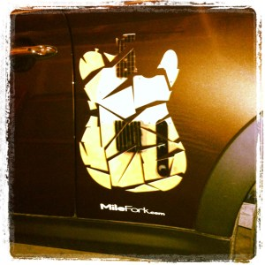 Milefork guitar mosaic car decal