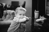 Sadly, I did not nail the focus on this and I even got the exposure wrong, but its such a cute pic, I boosted the levels, and grayscaled it.