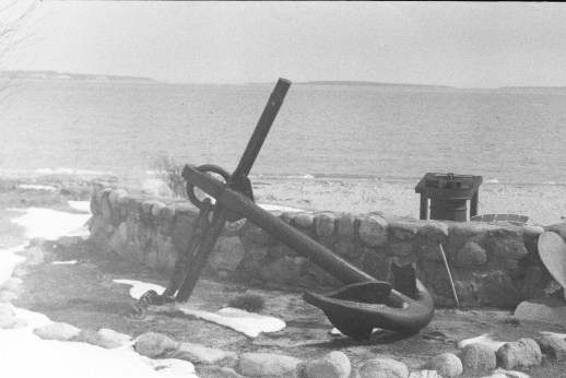 A sea anchor on the shore of Mackinac City.