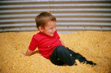 This was shot in a very dark corn silo. The lens was at f/1.7 here and probably a 1/10 second shutter speed.