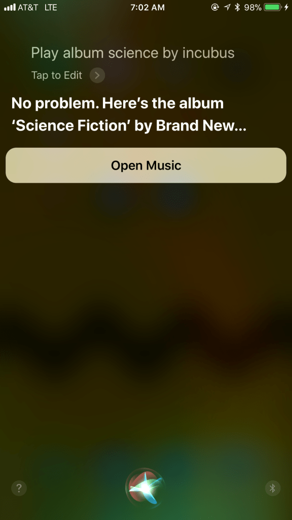 Siri understands a request, but doesn't execute correctly.