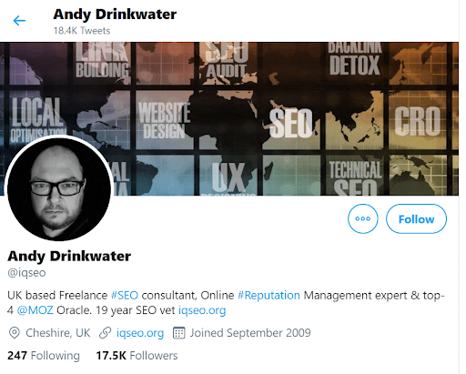 Twitter Andy Drinkwater