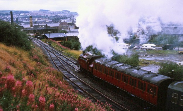 Keighley & Worth Valley Railway, Keighley, West Yorkshire: British Railways loco 41241 (1975)